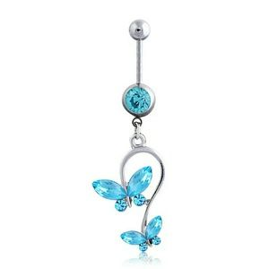 NWT Bright Blue Dangle Butterfly Belly Ring